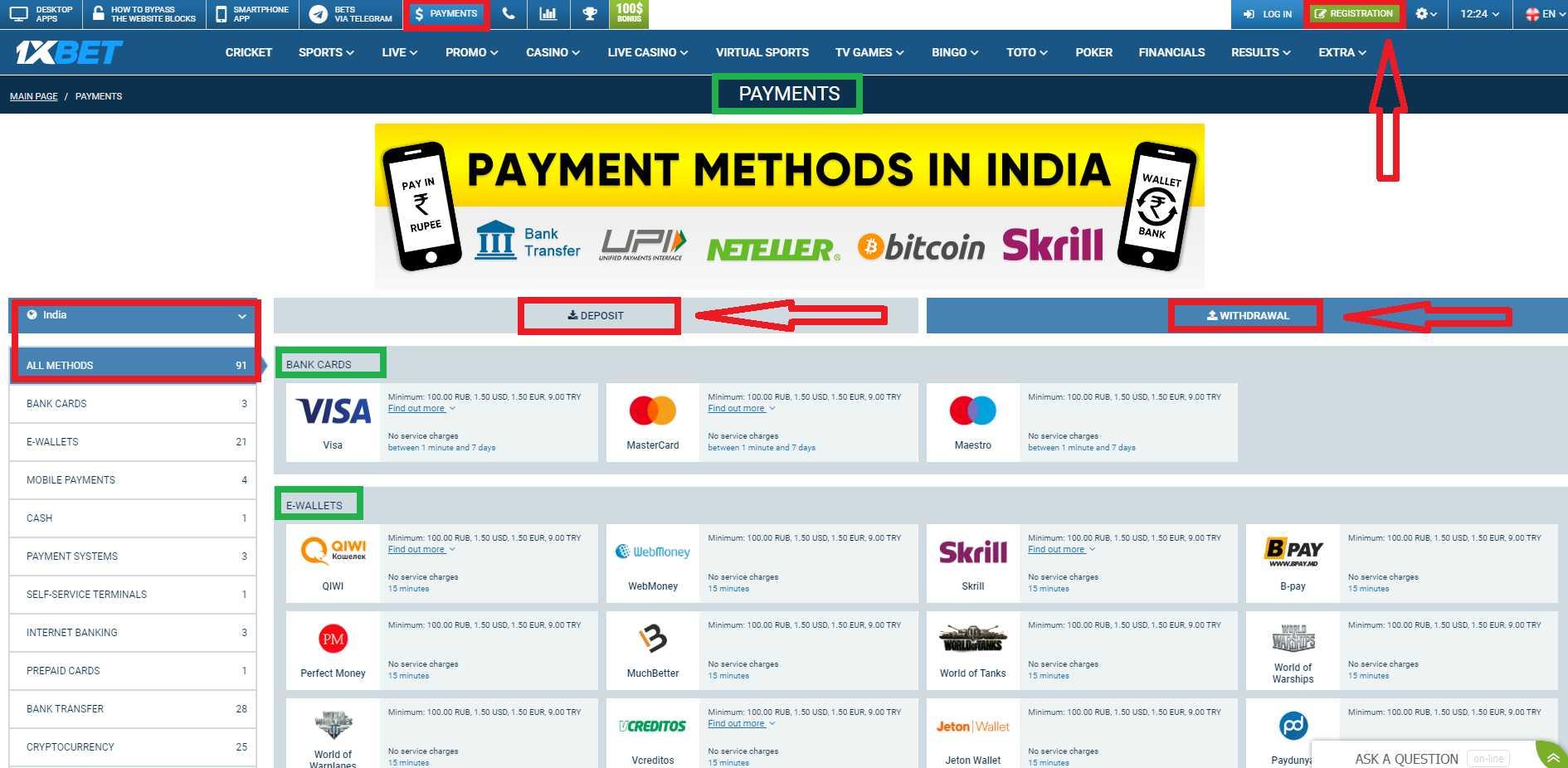 BK 1xBet: minimum deposit in India.