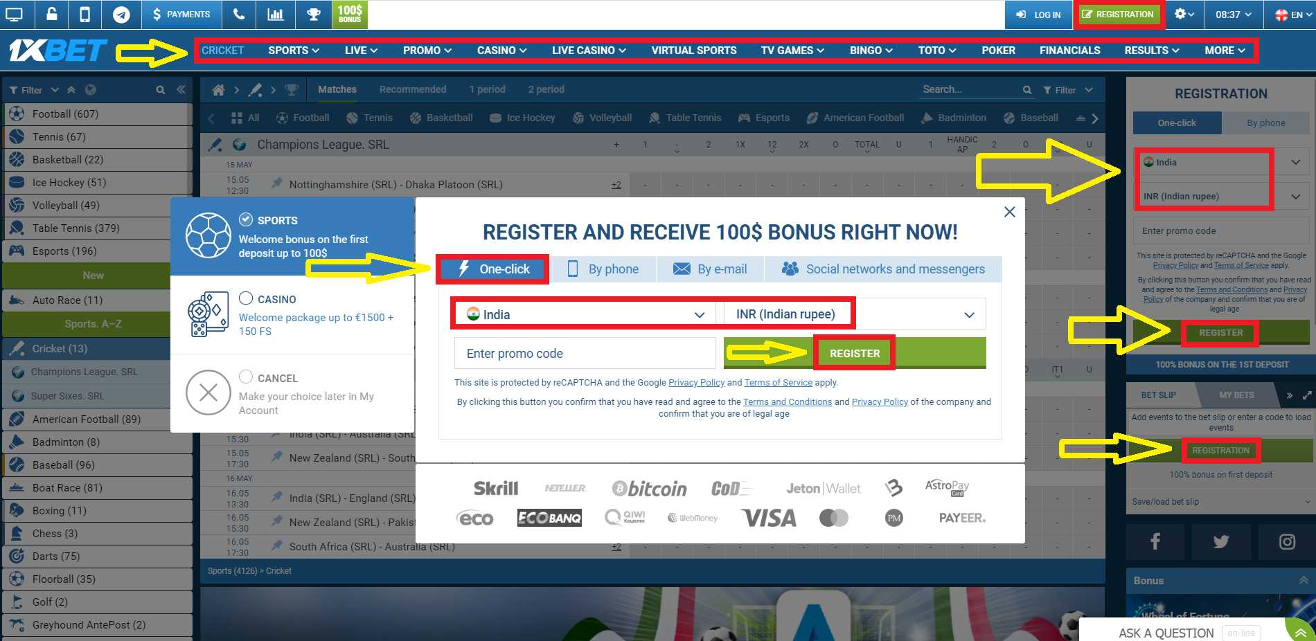 Guide for 1xBet registration and login.